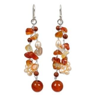 Handmade Pearl and Carnelian 'Sun Dancer' Cluster Earrings (Thailand)