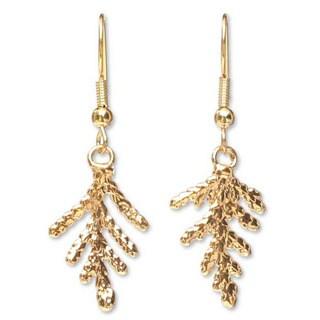 Handmade Goldplated Natural Leaf 'Cypress Honor' Earrings (Thailand)