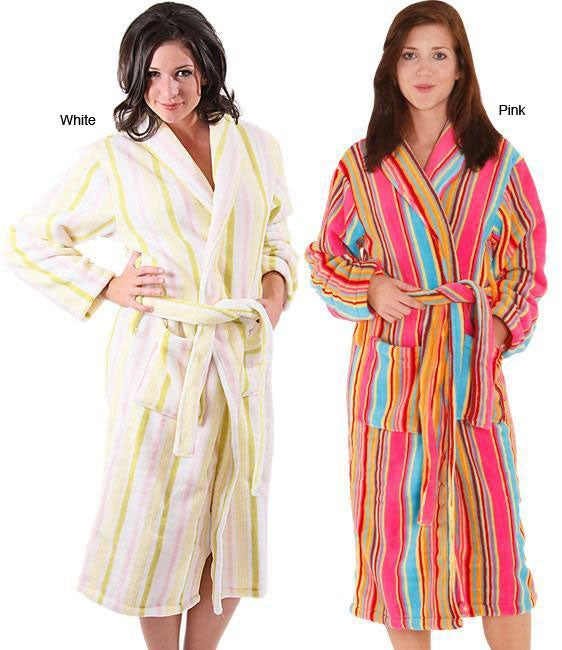 Alexander Del Rossa Women's 12-oz Fleece Candy Striped Bath Robe - Thumbnail 0