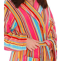 Alexander Del Rossa Women's 12-oz Fleece Candy Striped Bath Robe - Thumbnail 1