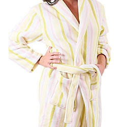 Alexander Del Rossa Women's 12-oz Fleece Candy Striped Bath Robe - Thumbnail 2