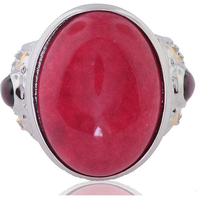 Michael Valitutti Silver/ Palladium/ 18k Vermeil Red Jade/ Sapphire Ring