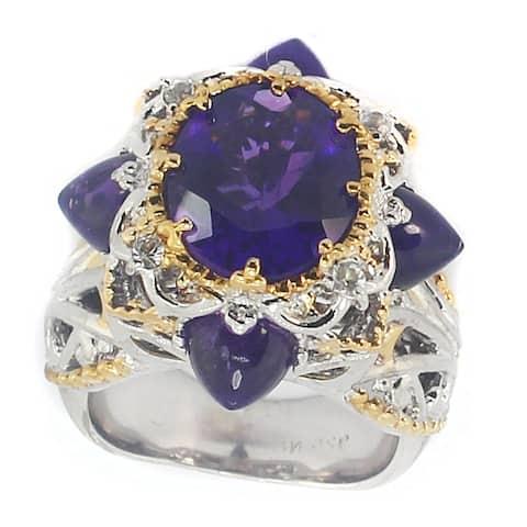 Gems en Vogue Palladium Silver African Amethyst & White Sapphire Ring