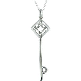 Miadora Sterling Silver Diamond Shaped Motif Key Pendant