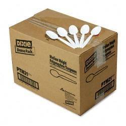 Dixie White Plastic Medium-Weight Teaspoons (Case of 1,000)