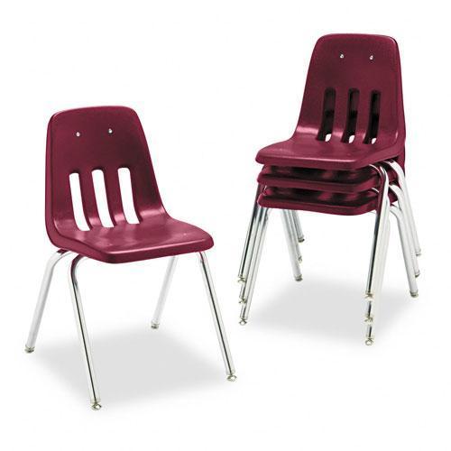 VIRCO 9000 Series Wine/Chrome (Grey) Plastic Stack Chair ...