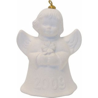 Goebel 2009 White Angel Bell Holiday Ornament