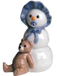 Royal Copenhagen Boy With Teddy Bear Snowman Figurine - Thumbnail 1