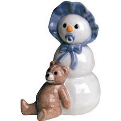 Royal Copenhagen Boy With Teddy Bear Snowman Figurine