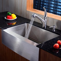 KRAUS 30 Inch Farmhouse Single Bowl Stainless Steel Kitchen Sink with Pull Out Kitchen Faucet and Soap Dispenser - Thumbnail 1