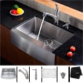 KRAUS 30 Inch Farmhouse Single Bowl Stainless Steel Kitchen Sink with Pull Out Kitchen Faucet and Soap Dispenser
