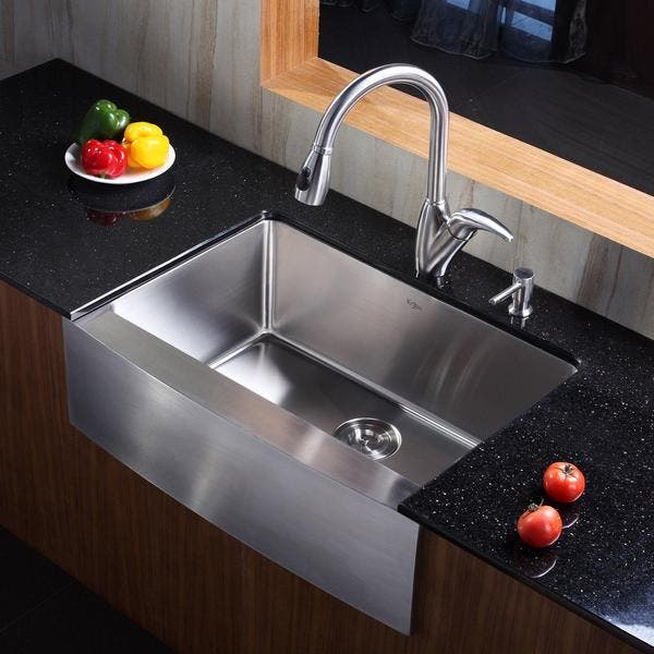Kraus Kitchen Combo Set Stainless Steel Farmhouse Sink With