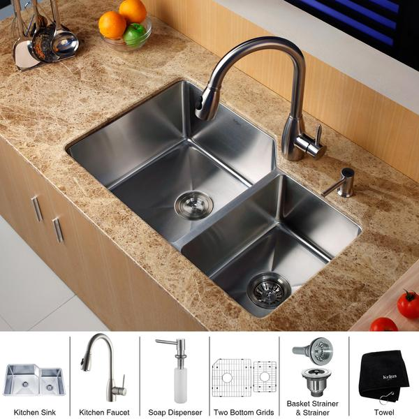 KRAUS 32 Inch Undermount Double Bowl Stainless Steel Kitchen Sink with Kitchen Faucet and Soap Dispenser in Stainless Steel