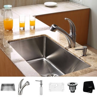 KRAUS 30 Inch Undermount Single Bowl Stainless Steel Kitchen Sink with Pull Out with Kitchen Faucet and Soap Dispenser