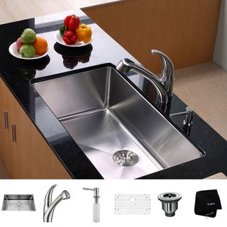 KRAUS 32 Inch Undermount Single Bowl Stainless Steel Kitchen Sink with Pull Out Kitchen Faucet and Soap Dispenser