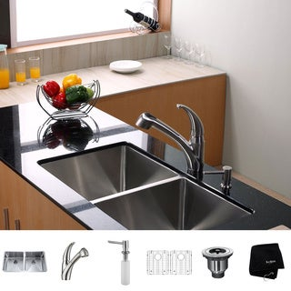 KRAUS 33 Inch Undermount Double Bowl Stainless Steel Kitchen Sink with Pull Out Kitchen Faucet and Soap Dispenser