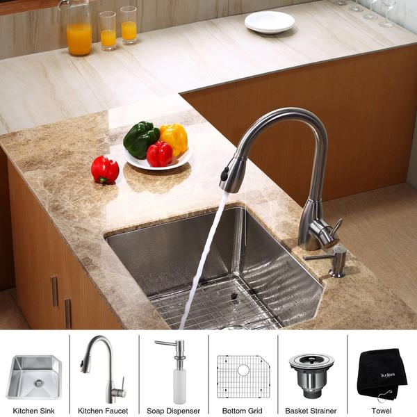 KRAUS 23 Inch Undermount Single Bowl Stainless Steel Kitchen Sink with Kitchen Faucet and Soap Dispenser in Stainless Steel