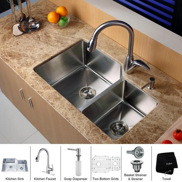 kraus 32 inch undermount double bowl stainless steel kitchen sink with kitchen faucet and soap dispenser - Kitchen Sink And Faucet Sets