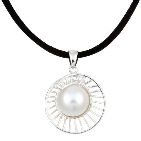 Kabella Sterling Silver Freshwater Pearl Shell Necklace (12-12.5 mm)