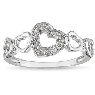 Miadora 10k White Gold Diamond Accent Heart Ring