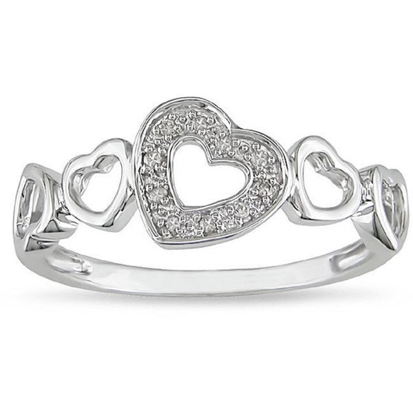 Miadora 10k White Gold Diamond Accent Heart Ring