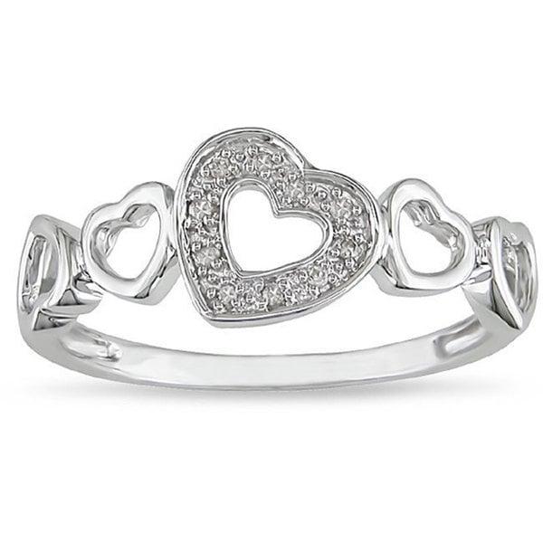Miadora 10k White Gold Diamond Accent Heart Ring (H-I, I2-I3)