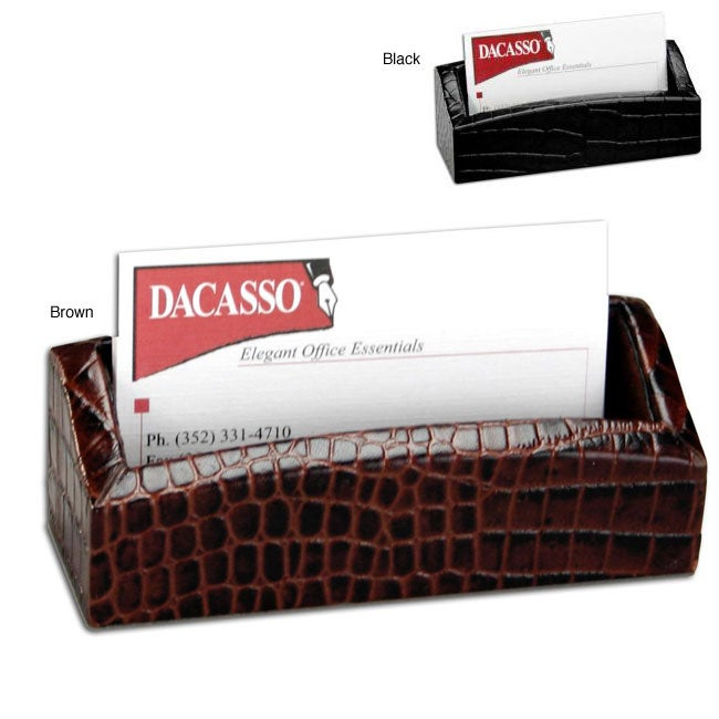 Dacasso Crocodile-Embossed Leather Business Card Holder