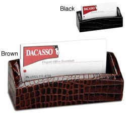 Dacasso Crocodile-Embossed Leather Business Card Holder - Thumbnail 0