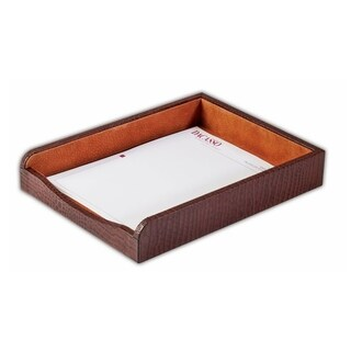 Dacasso Crocodile-embossed Leather Letter-size Tray