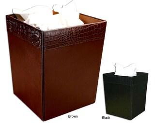 Dacasso Crocodile-embossed Leather Square Wastebasket (Option: Brown)