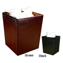 Dacasso Crocodile-embossed Leather Square Wastebasket