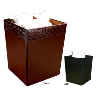 Dacasso Crocodile-embossed Leather Square Wastebasket (2 options available)