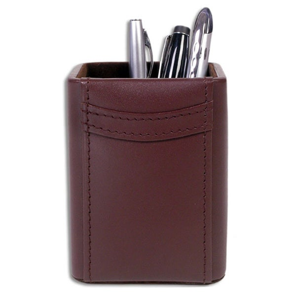 Dacasso Square Pencil Cup from Hand-tucked Genuine Top-grain Leather