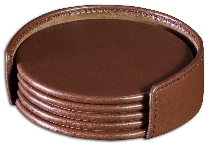 Dacasso 1000 Series Round Leather Coasters and Holder