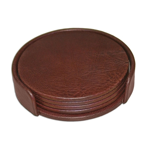 Dacasso Chocolate Brown Leather 4-Round Coaster Set