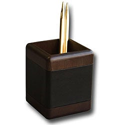 Dacasso 8000 Series Wood and Leather Pencil Cup