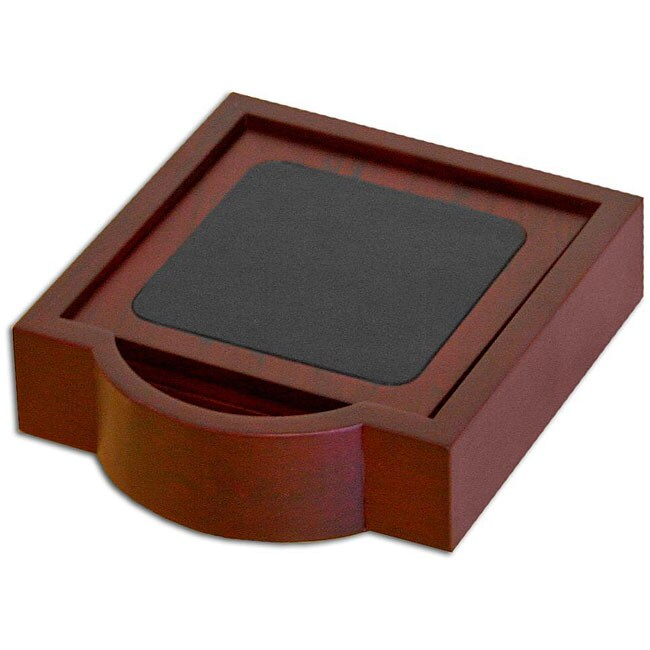 Dacasso Wood and Leather 4-piece Coaster Set with Holder