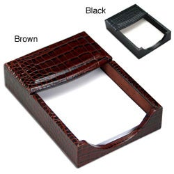 Dacasso Crocodile-Embossed Leather 4x6-inch Memo Holder