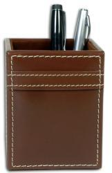 Dacasso 3200 Series Stitched Leather Pencil Cup Desk Accessory