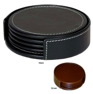 Dacasso Round Rustic Leather Coasters (Set of 4) (Option: Black)