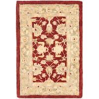 Safavieh Handmade Anatolia Oriental Red/ Green Hand-spun Wool Rug (2' x 3')