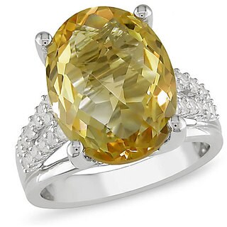 Miadora Sterling Silver Citrine, Created White Sapphire and Diamond Ring