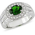 Miadora Sterling Silver Chrome Diopside and White Topaz Ring