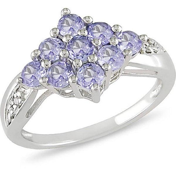 Miadora Sterling Silver Tanzanite and Diamond Accent Ring