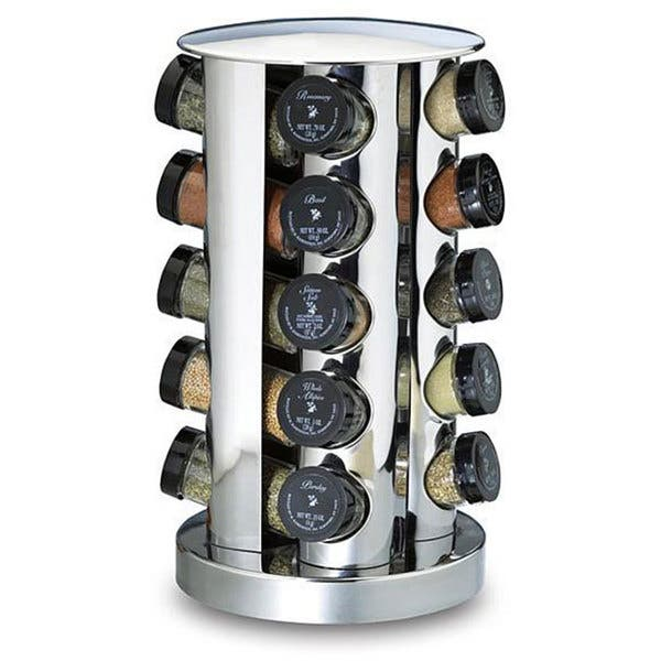 Home Magnetic Stainless Steel Spice Jar Revolving Rack Set Cooking Chef Food US