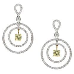 18k Gold 1 3/5ct TDW Yellow and White Circle Diamond Earrings (H, I1)