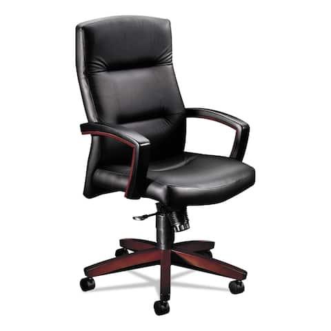 HON 5000 Series Executive High-Back, Black Leather/Mahogany - 26 x 29 x 44.5