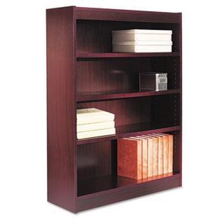 Alera Square Dark Brown Corner Bookcase with Finished Back