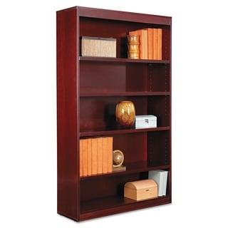 Alera Square Corner Mahogany Five-shelf 35-5/8 in. W x 11-3/4 in. D x 60 in. H Wood Veneer Bookcase