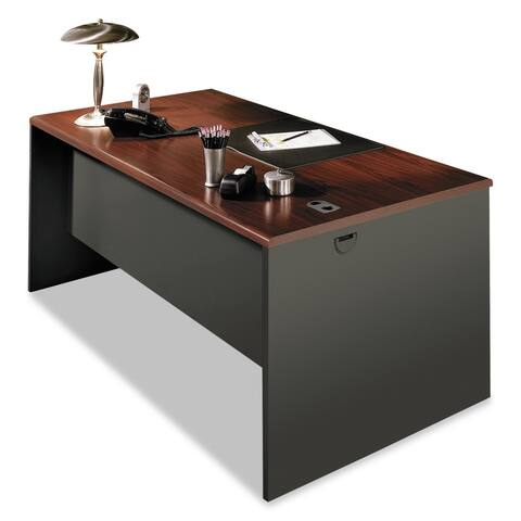 HON 38000 Series Desk Shell, Mahogany/Charcoal